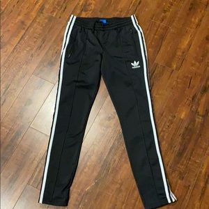 Adidas Track Pants- Black with white stripes Small